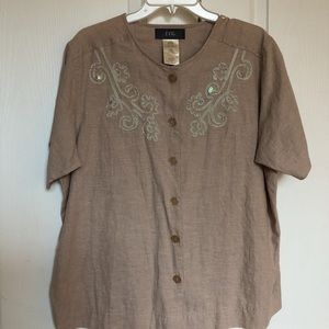 EVR Womens Blouse Pueblo Top Embroidered Plus 14W